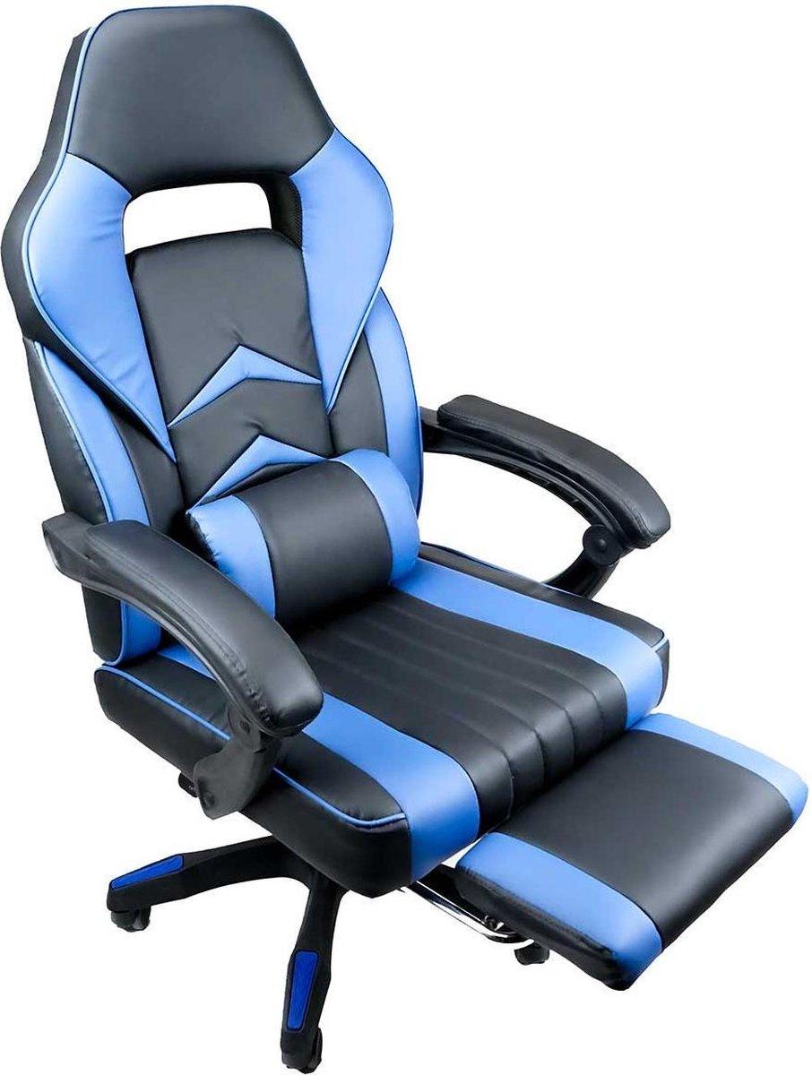 Nifty Living - Bureaustoel - met voetsteun - kunstleer - zwart/blauw