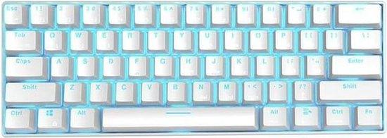 RK61 Gaming Keyboard Wit – LED Verlichting – Ergonomisch Mechanisch Gaming Toetsenbord Met Draadloos Verbinding – Qwerty – 60% Met Multimedia…