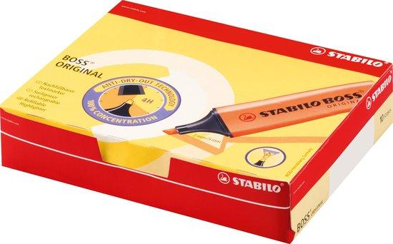 STABILO BOSS ORIGINAL - Markeerstift - Hoogste Kwaliteit - Geel - Doos 10 stuks - STABILO