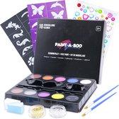Schminkset op Waterbasis met Penselen, Sponsjes, Sjablonen en Glitters - Schmink Palet 10 Kleuren x 3 Gram - Pinksteren