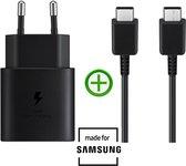 Origineel Samsung USB-C adapter + 1.5m Kabel | Snellader (25W) | Zwart