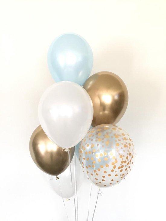 Huwelijk / Bruiloft - Geboorte - Verjaardag ballonnen | Lichtblauw / Blauw - Goud - Off-White / Wit - Transparant - Polkadot Dots | Baby Shower - Kraamfeest - Fotoshoot - Wedding - Birthday - Party - Feest - Huwelijk | Decoratie | DH collection