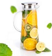 MÊZON® Schenkkan - Glazen Waterkan - Waterkaraf voor Fruitwater - Multifunctionele Decanteer Karaf - Kan met Deksel - 1.5L Capaciteit