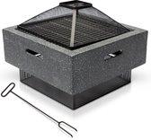 MaxxGarden MgO vuurschaal - Barbecue tuinhaard en BBQ incl. grill en pook - 51x51 cm - zwart