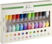 Nassau Fine Art - Acrylverf set - 24 x 22ML | 12 pastel kleuren + 12 basis kleuren | hobbyverf