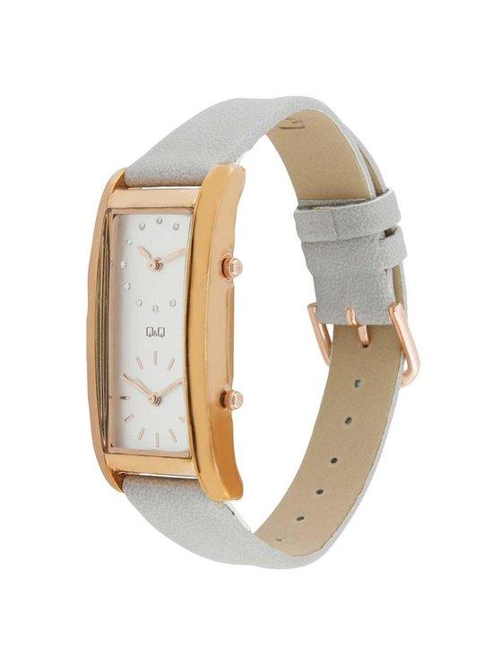 Q&Q rechthoekige dames horloge grijs /rosekleurig QB61J101Y