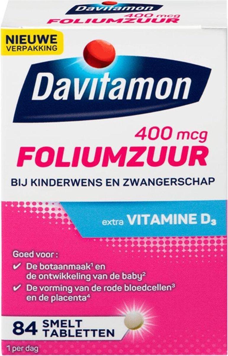 Davitamon Foliumzuur met Vitamine D3 - Voor -en tijdens zwangerschap - Voedingssupplement - 84 stuks