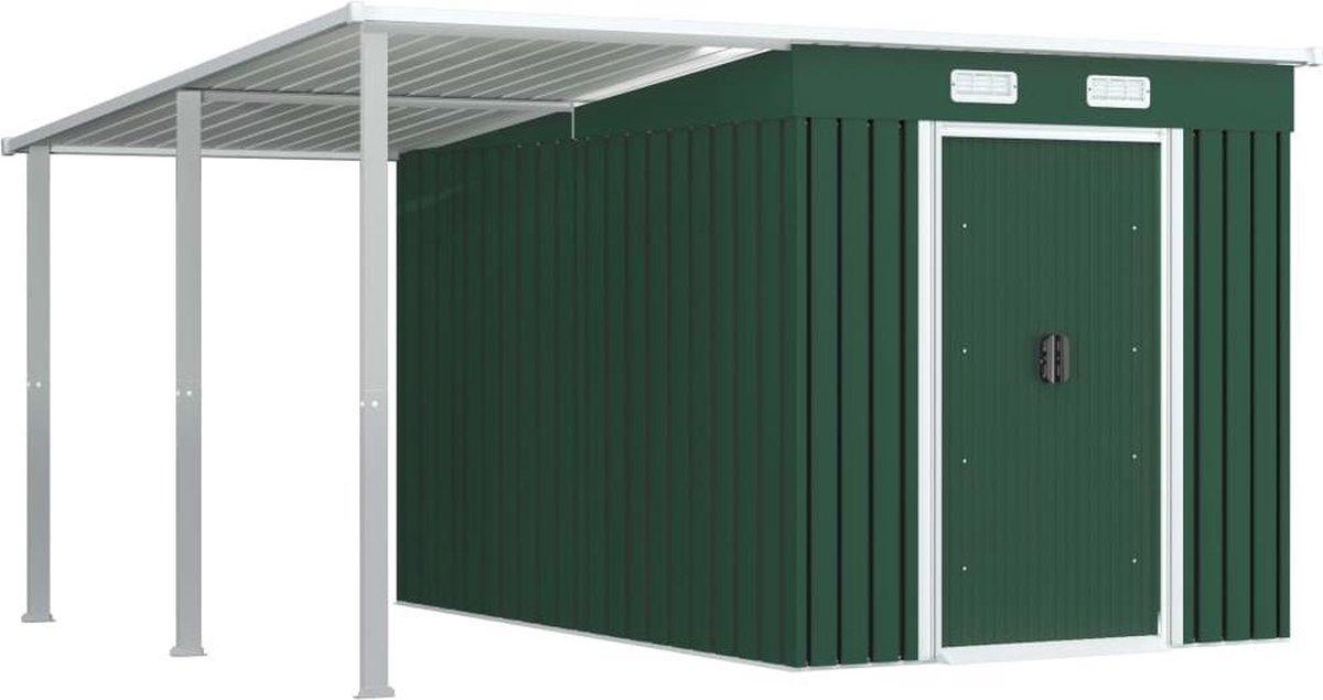 VidaXL Tuinschuur met verlengd dak 336x270x181 cm staal groen VDXL_144041 online kopen