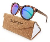 Bluxer® Zonnebril voor Dames Polaroid - Hippe Zonnebril Gepolariseerd - UV400 Lens - Walnut Wood - Ice Blue lens