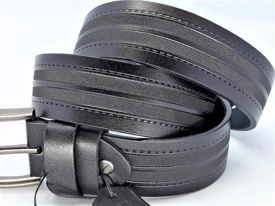 Leren riem zwart, stiknaad, geruwd, L120cm, H38mm, D4,5mm, riem 24/gesp A