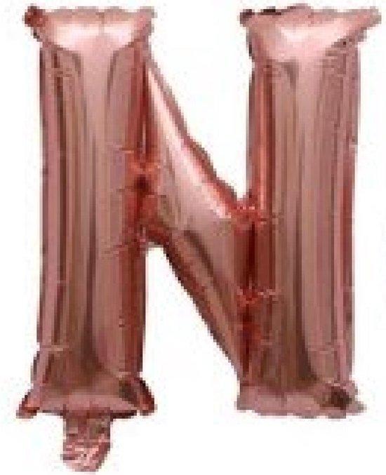 Folieballon / Letterballon Rose Goud  - Letter N - 41cm