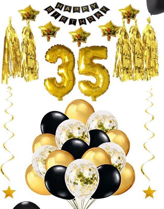 35 jaar verjaardag feest pakket Versiering Ballonnen voor feest 35 jaar. Ballonnen slingers sterren opblaasbare cijfers 35