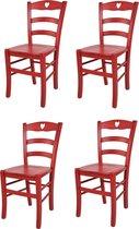 Tommychairs - Set van 4 stoelen model Cuore. Ideaal voor de horeca maar ook zeer geschikt voor uw keuken of eetkamer. Kleur rood