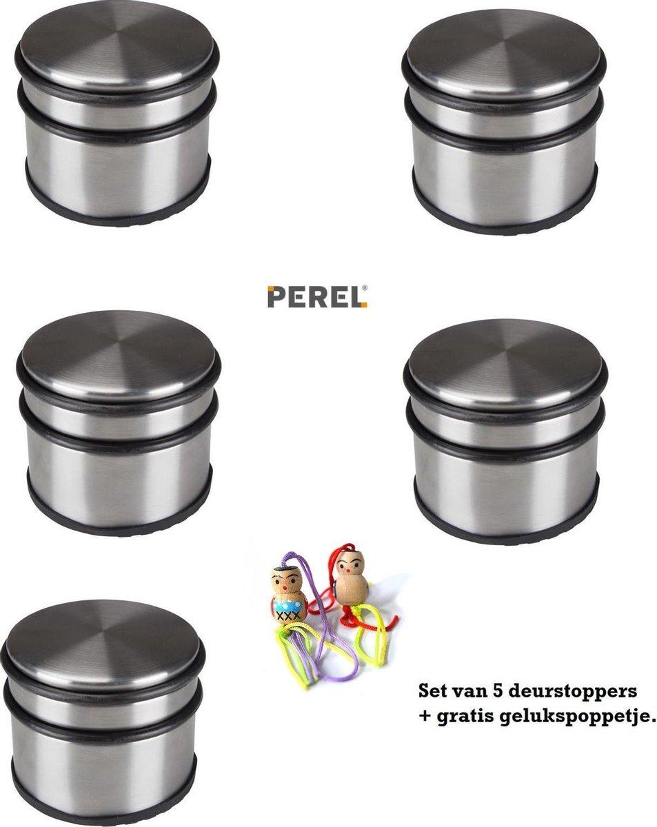 5 Stuks Perel RVS deurstopper actie gratis gelukspoppetje.