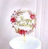 Happy Birthday Taart Topper - TAART TOPPER -verjaardag TOPPER - CAKE TOPPER -taarttopper -Bloemen Goud - Taart topper - Cake topper - Happy birthday - Verjaardagstaart topper - Verjaardag