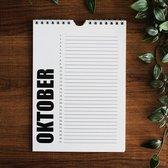 Verjaardagskalender | Zonder Jaartal | Kalender | Volwassenen | Verjaardagskalenders | Zwart Wit | Familieplanner | Kantoor | Wandkalender | Maandkalender | Jaarkalender | YellowLabel Design | A5 formaat