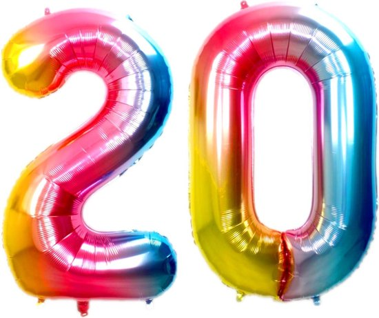 Folie Ballon Cijfer 20 Jaar Regenboog 36Cm Verjaardag Folieballon Met Rietje