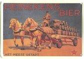 Heinenken Bier paard en wagen reclamebord klein 11x8 cm