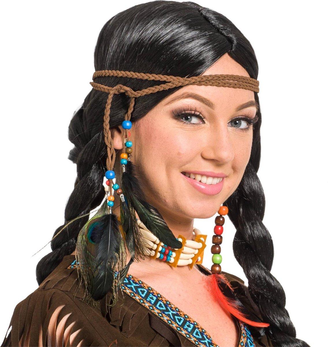 Folat Haarband Indiaan Dames 80 Cm Polyester Bruin - Folat