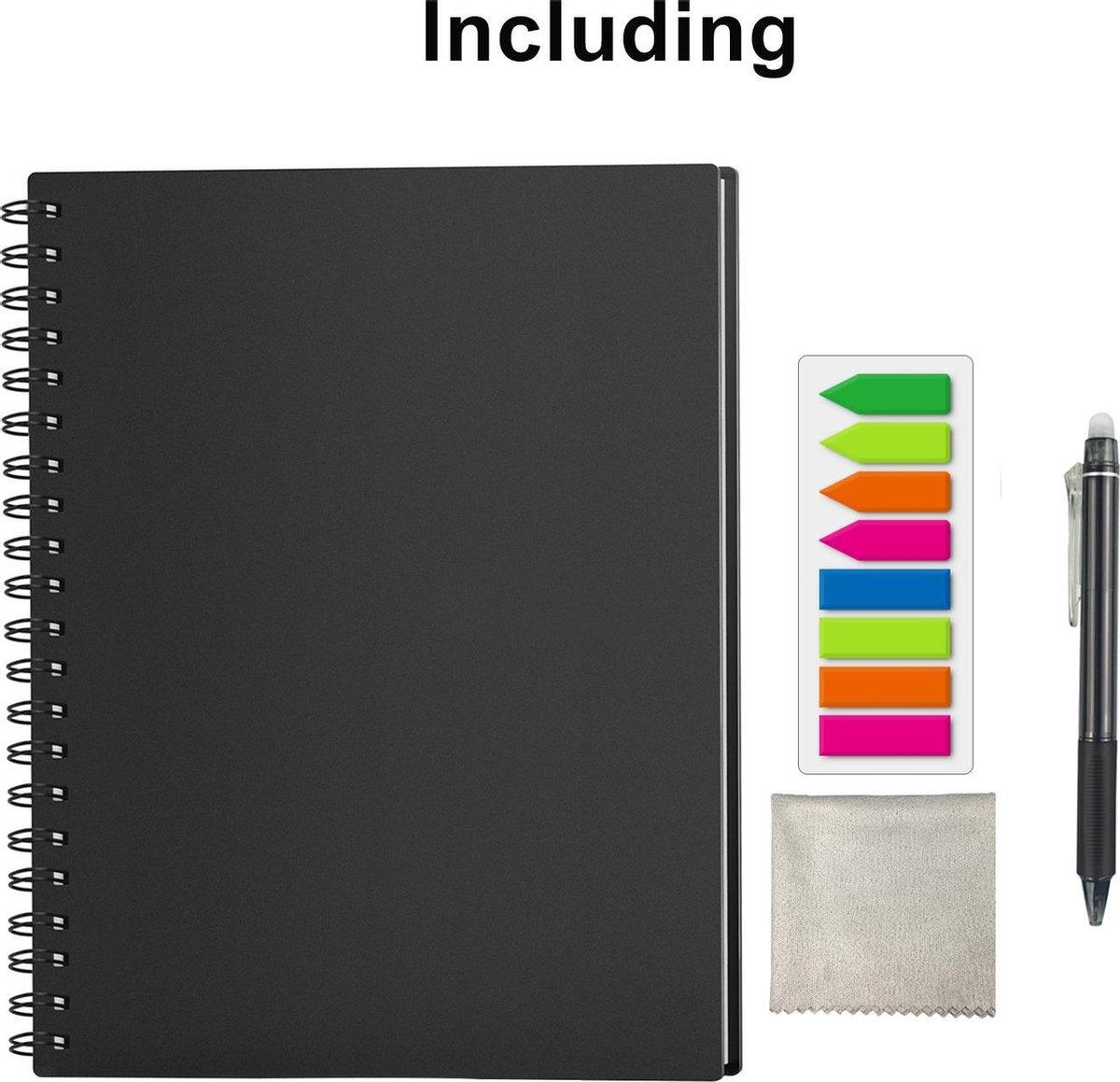Uitwisbaar-Herbruikbaar Notitieboek / Schrift / Whiteboard A4 Gelineerd + Planner - Taken Notitieboek Zwart