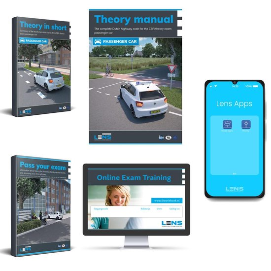 Boek cover Driving License Theory Book 2021 with 50 Online Exams, Summary, Apps and more - CBR Car Theory Learn License B 2021  - Lens Media van Lens Verkeersleermiddelen (Onbekend)