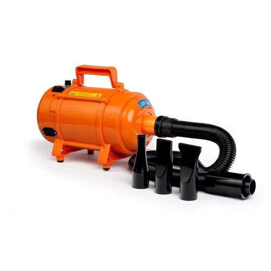 Krachtige Hondenföhn/ Waterblazer met Draaiknop om Overtollig Water en Stof Snel Uit de Vacht te Blazen | Verstelbare Vermogen standen (500W tot 2400W) en Verstelbare Temperatuur - Type B Oranje