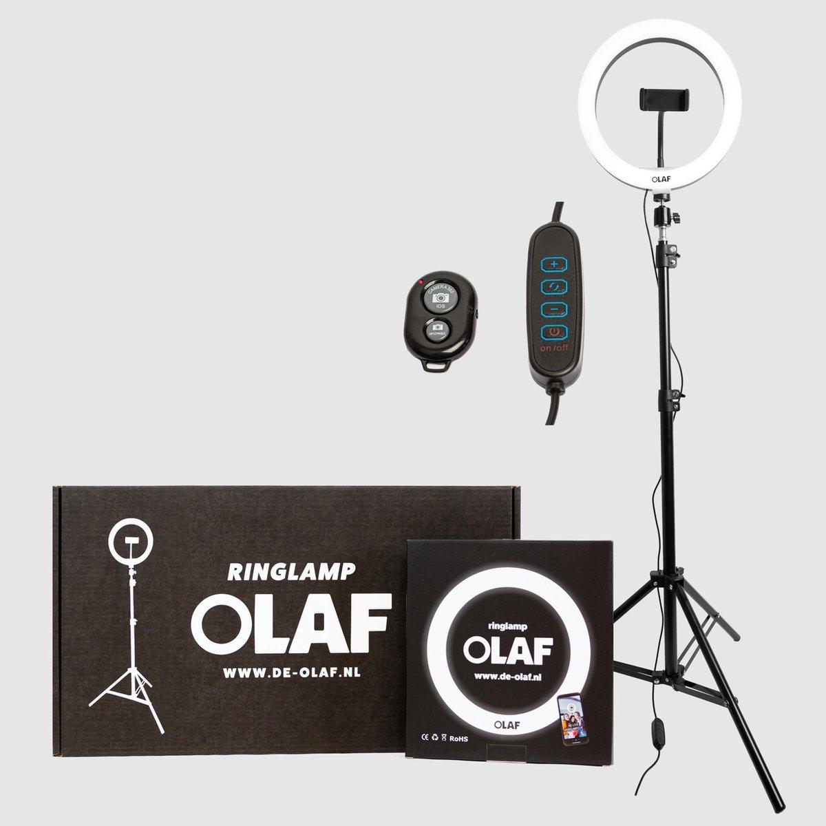 OLAF - Ringlamp - Tiktok lamp - Ringlight - 10inch - Standaard/statief 160cm - LED verlichting - Mak