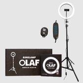 OLAF - Ringlamp - Tiktok lamp - Ringlight - 10inch - Standaard/statief 160cm - LED verlichting - Make-Up lamp - Selfielamp - Studiolamp - Influencer - Youtube - Instagram - Telefoon - Telefoonhouder- Fotografie -Afstandsbediening - TikToklamp