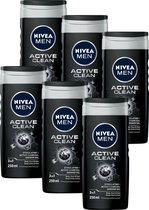 NIVEA MEN Active Clean Douchegel - 6 x 250 ml - Voordeelverpakking