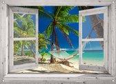 tuinposter - 90x65 cm - doorkijk wit venster - tropisch strand hangmat - tuindecoratie - tuindoek - tuin decoratie - tuinposters buiten - tuinschilderij