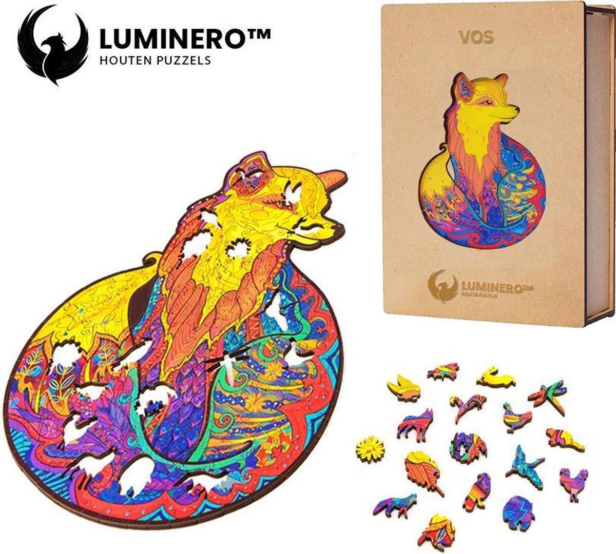 Luminero™ Houten Vos Jigsaw Puzzel - A3 Formaat Jigsaw - Unieke 3D Puzzels - Huisdecoratie - Wooden Puzzle - Volwassenen & Kinderen - Incl. Houten Doos