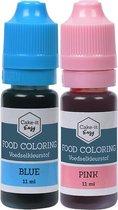 Eetbare Kleurstof voor Gender Reveal Taart   2 kleuren (roze / blauw)   Voedingskleurstof voor bakken  Topkwaliteit in handig doseer-flesje