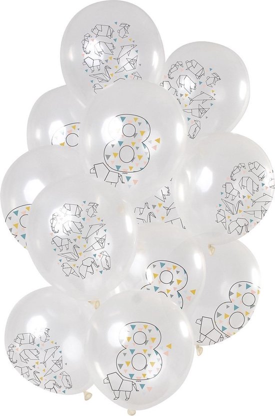 Ballonnen 8 Jaar Origami 30cm 12st