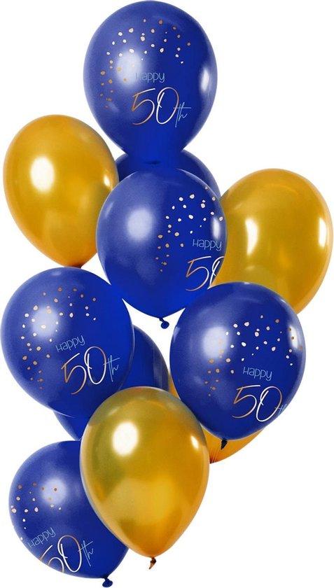 Ballonnen - 50 jaar - Luxe - Blauw, goud - 30cm - 12st