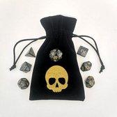 Polydice set met bag - dobbelstenen dungeons and dragons - DnD - RPG - bewaarzakje skull - set van 7 stuks met 1 zakje