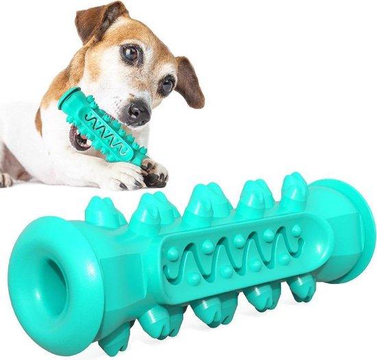 Kauwbot Hond-Kauwspeelgoed- Snacks-Tandverzorging- Anti Tandsteen- Mogelijkheid Voor Touw-15 cm x 5 cm- Turquoise