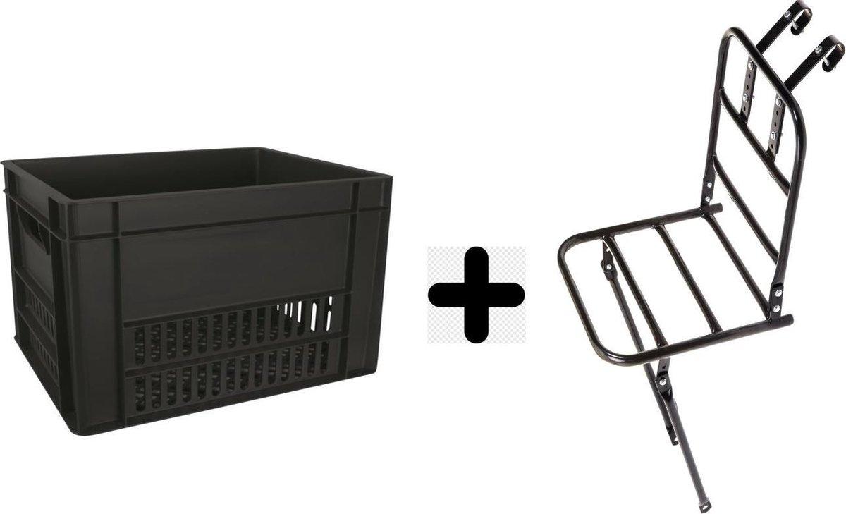 Fiets Transportrek Voordrager 28 inch + Fietskrat Kunststof 40 liter Zwart
