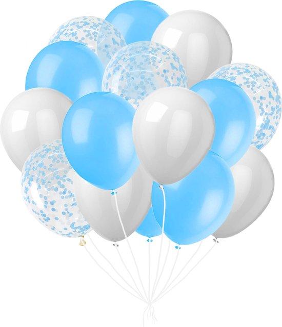 Blauw, Wit, Papieren Confetti Ballonnen - 24 Stuks - Babyshower - Verjaardag - Gender reveal