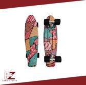 EZRIO SPORTS – Penny Board – Pennyboard – Skateboard – Long Board – Cruiser Skate Board – Penny Board voor Meisjes en Jongens – Mozaiëk Print – 22 inch – Roze