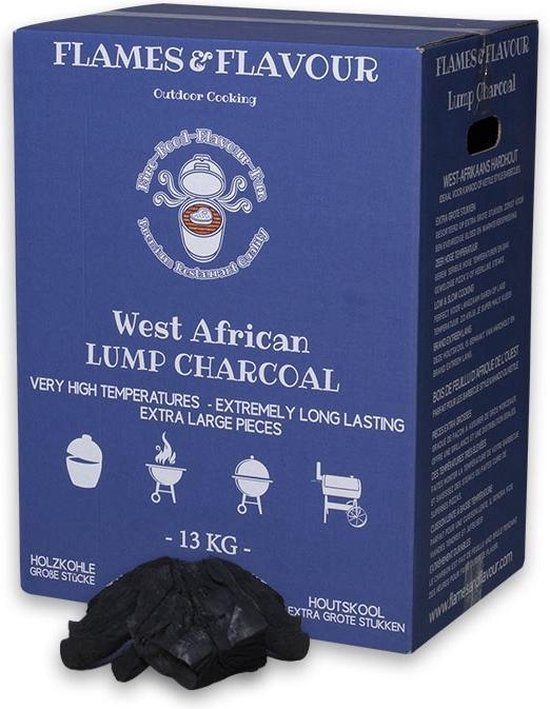 West-Afrikaans Hardhout Houtskool 13 kg van Flames & Flavour voor Big Green Egg - Kamado - Kettle BBQ