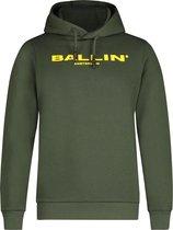 Ballin Amsterdam Kids Logo Hoodie - Dark Army / Geel - Slim fit