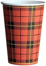 Schotse Ruit Drinkbeker - Koffiebeker - Kartonnen Beker - 180 cc - 500 Stuks - Wegwerpbeker - Papieren Beker - To-Go - Milieuvriendelijk