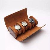 Ortell® Luxe Horlogebox - Horlogedoos - Horloge doos - Opbergdoos - Watch roll - Bruin horloge etui voor 3 horloges en/of sieraden