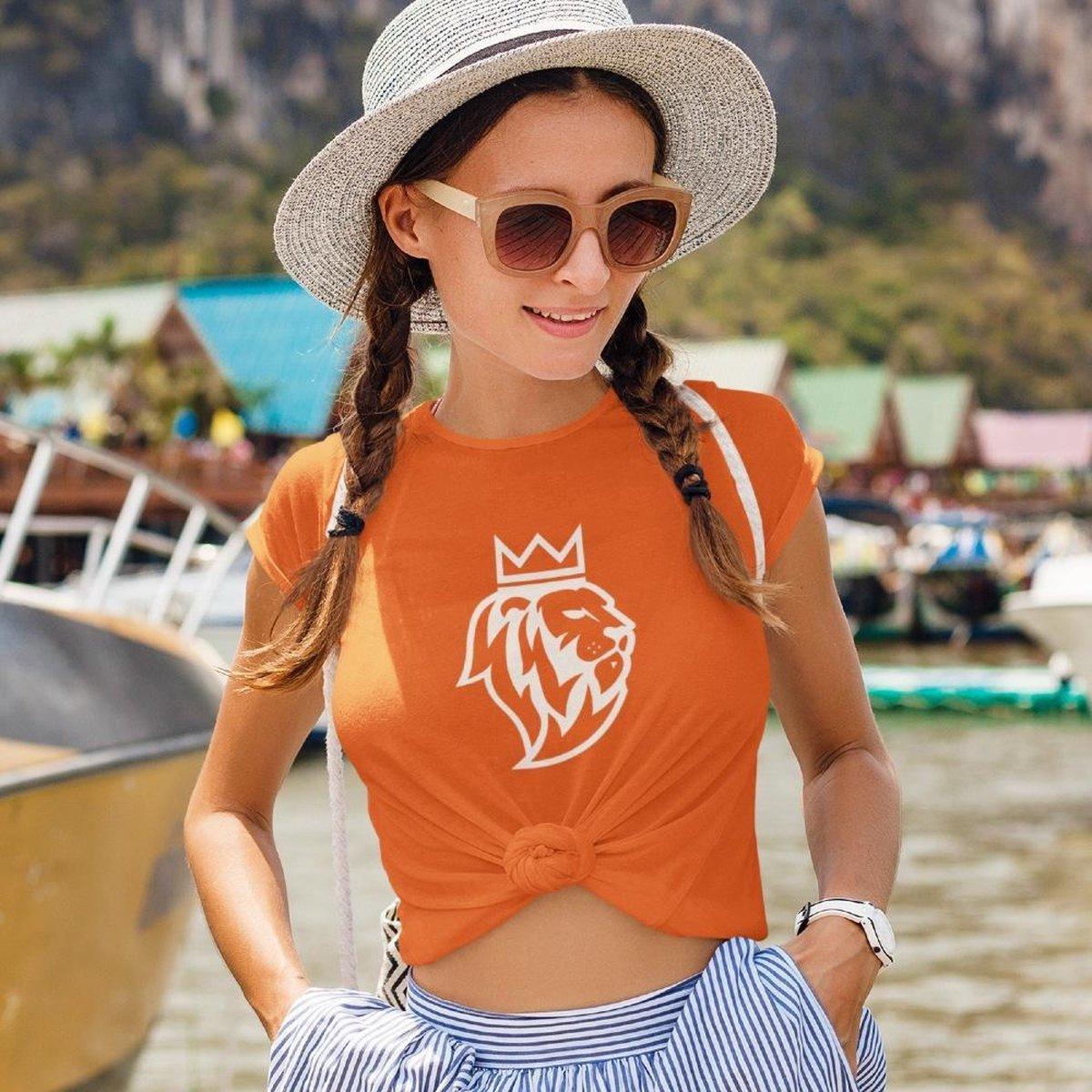 EK WK & Koningsdag T-Shirt De Leeuw (DAMES - MAAT S)   Oranje Kleding   Feestkleding