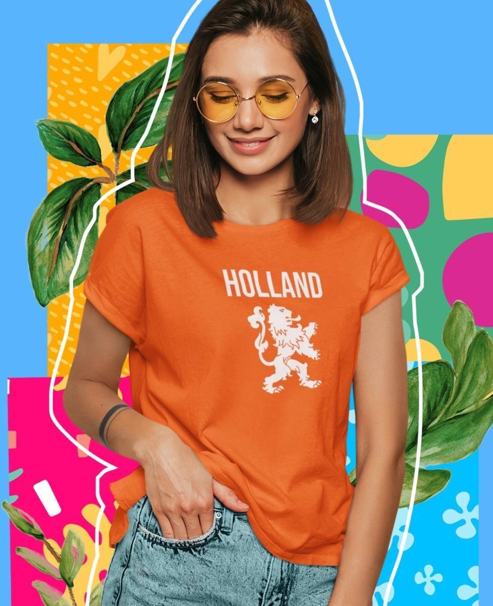 EK WK & Koningsdag T-Shirt Holland (DAMES - MAAT M)   Oranje Kleding   Feestkleding