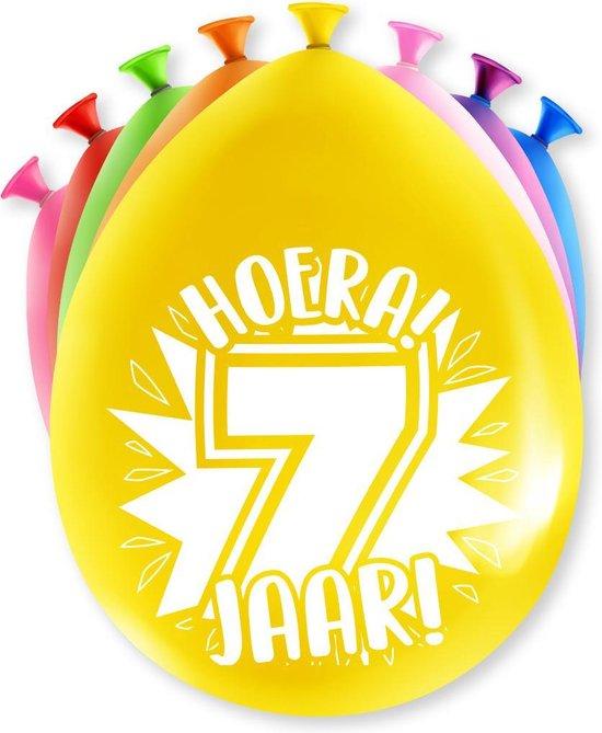 Ballonnen Hoera 7 jaar 8 stuks 30 cm