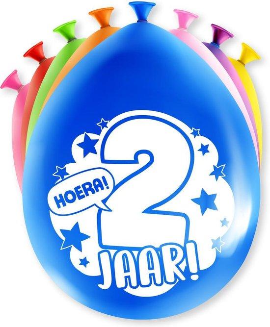 Ballonnen Hoera 2 jaar 8 stuks 30 cm