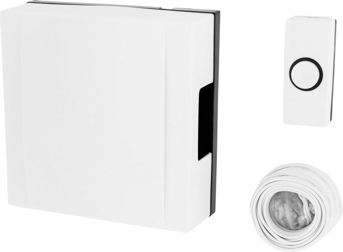 Byron 720 - Bedrade deurbel set - Wit - Incl beldrukker deurbel - kabel - Byron