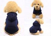 DNDH® - Stijlvolle hoodie voor je hond - Hondenjas - Hondentrui - Hondenkleding - Size M (Ruglengte 25 cm) - Donkerblauw