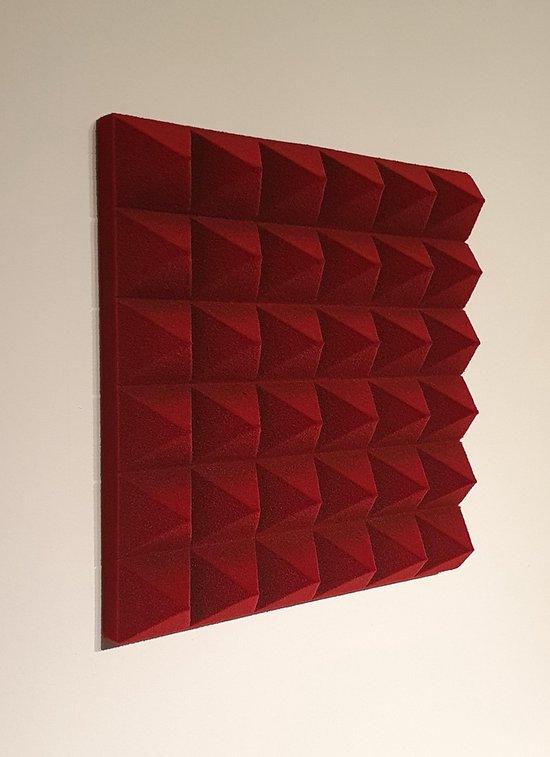 Geluidsisolatie noppenschuim/piramide schuim  Isowen luxe wijnrode studioschuim, 30x30x5CM, 2 stuks